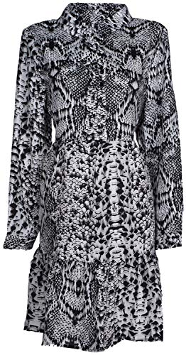 styleBREAKER Damen Minikleid langärmlig mit Schlangen Animal Print Muster, Blusenkragen und Knopfleiste, Rüschen, Tunika, Kleid 08010061, Farbe:Grau-Schwarz-Weiß, Größe:L