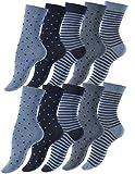 Vincent Creation 10 Paar Süsse Damensocken und Mädchensocken Dot´s and Stripes, Baumwolle - gepunktet & geringelt (35/38, jeansblau)