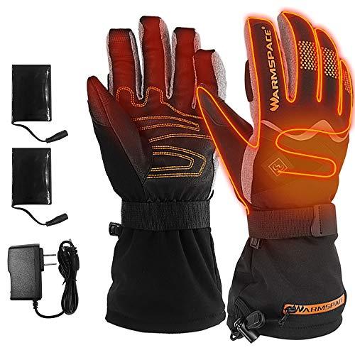 ILM Heated Motorcycle Leather Gloves for Men Women Winter Resistant Waterproof Temperature Adjustable Suit Skiing Work (Gray, XL)