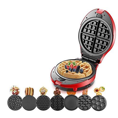 WW Máquina para Hacer gofres multifunción Cono de rosquilla eléctrica Parrilla Horno para Pan Pan Eggette Máquina 7 Platos Opcionales