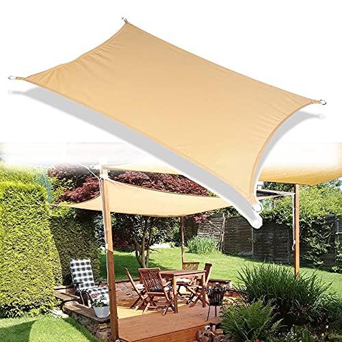 LKP Toldo Impermeable 4x4m Toldo Vela De Sombra Bloque UV Tela De PES Poliéster Protección Solar para Canopy Exterior Terraza Jardín Rectangular