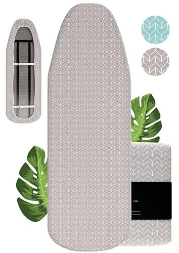VINEL Bügelbrettbezug 150x50 mit kräftigem Gummizug ︎| Der Nr. 1 Bügeltischbezug - 100% Baumwolle ︎+ Komfort Polster 140x40 für Dampfbügeleisen & Dampfbügelstation (Grau, XL)