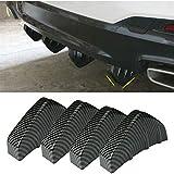 SEADEAR Universal 4PCS Rear Bumper Diffuser Fin Spoiler Lip 4 Wing Splitter Carbon Fiber