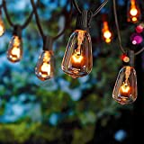 SUNSGNE 10Ft Outdoor Patio String Lights with 10 Clear Edison Bulbs, 7W/E12 Base, UL Listed C7 Vintage Edison Bulb String Lights for Patio Garden Backyard Porches Bistro Pool Umbrella ect- Black Wire