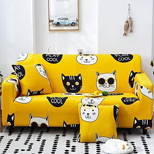 Funda Sofa 1 Plaza Gato Amarillo De Dibujos Animados Fundas Para Sofa con Diseño Elegante Universal,Cubre Sofa Ajustables,Fundas Sofa Elasticas,Funda de Sofa Chaise Longue,Protector Cubierta para Sofá