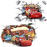 Kibi 2PCS 3D Aufkleber Cars Wandtattoo Cars Wandaufkleber