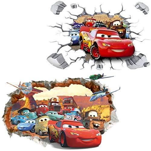 Kibi 2PCS 3D Aufkleber Cars Wandtattoo Cars Wandaufkleber Cars 3 Wandsticker Cars Disney Wandtattoo Cars Kinderzimmer, Dekoration Abnehmbare Aufkleber Wall stickers XXL