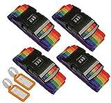 Correas de Equipaje,4 piezas Ajustable Viajar Contraseña Bloquear Embalaje Cinturón Maleta Equipaje Seguridad Correas para Reconocer Fácil el Equipaje