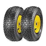 "MaxAuto 2-Pack 13x5.00-6 2PLY Turf Mower Tractor Tire with Yellow Rim, (3"" Centered Hub, 3/4"" Bushings )"