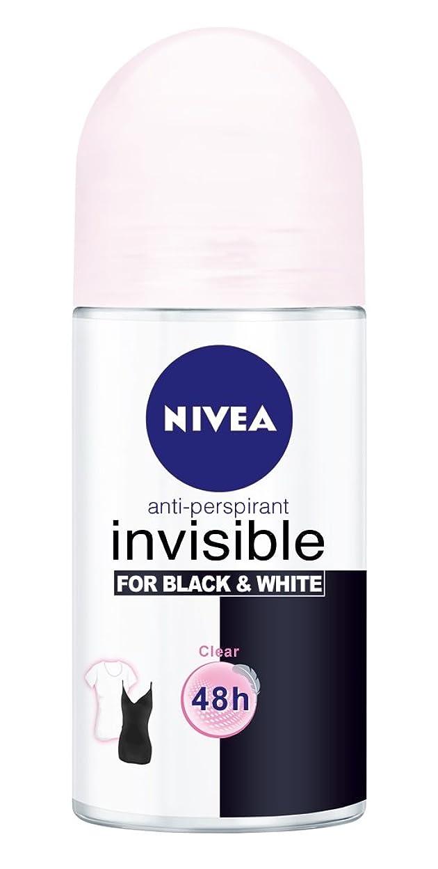首謀者署名仲良しNivea Invisible Black And White Clear Anti-perspirant Deodorant Roll On for Women 50ml - ニベアインビジブル黒そして白制汗剤デオドラントロールオン女性のための50ml