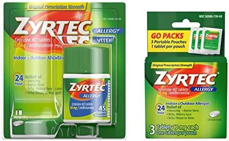 Zyrtec 24 Hour Allergy Relief Tablets Bundle with 1 x 45ct and 1 x 3ct Travel Pack 48 Piece product image