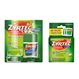 Zyrtec 24 Hour Allergy Relief Tablets, Bundle with 1 x 45ct and 1 x 3ct Travel Pack, 48 Piece Assortment