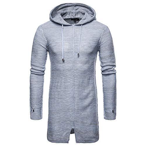 TEBAISE Herren Hip Hop Langarmshirt mit Kapuze Lange Sweatshirts Hoodies Shirts Oversize Freizeit Sweatshirt 2018 Männer Herbst Winter Jacke Mäntel Slim Fit (B-grau,EU-48/CN-L)