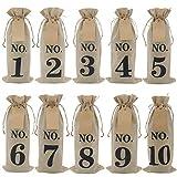 10 bolsas de vino de arpillera con etiquetas para vino