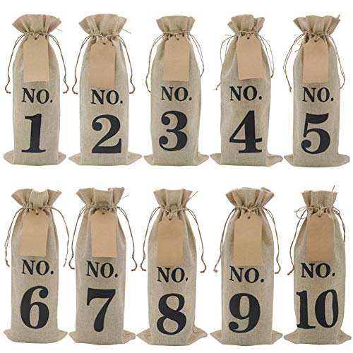 HRX Package 10pcs Burlap Wine Bags with Tags for Blind Wine Tasting, Numbered Hessian Cloth Glass Bottle Gift Bags for Christmas Wedding Party Decoration