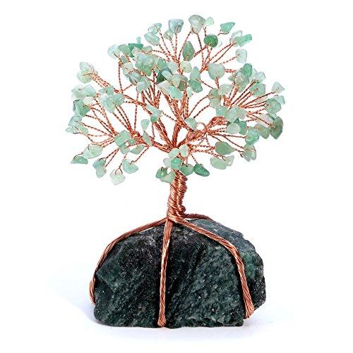CrystalTears Edelstein Baum des Lebens Dekoration Wire Wrap Trommelsteine Lebensbaum Feng Shui Geldbaum Glückbaum mit Kristall Basis Tisch Büro Deko (Aventurin)