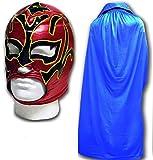 Estrella Fugaz Disfraz Adulto Luchador Mexicano Máscara de Lucha con / Azul Capa