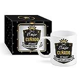Framan Taza Cerámica para Desayuno en Color Blanco de 300 ml, Un Regalo Original para Cuñados - El Mejor CUÑADO del Mundo!