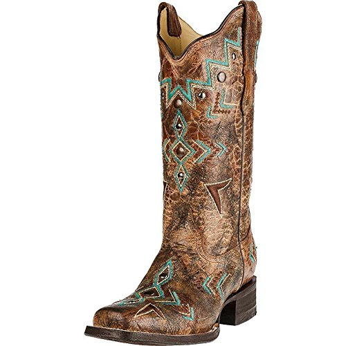 Corral Women's Embroidered Southwest Cowgirl Boot Square Toe Bronze 6 M US