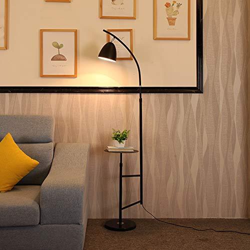 ZMLG Bogenlampe Wohnzimmer, Stehlampe mit Ablage Höhenverstellbar Standleuchte Metall Lampenschirm 180° Einstellbarer Augenschonende Leselampe für Schlafzimmer, Büro, Lesezimmer,Schwarz