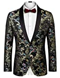 COOFANDY Mens Slim Fit Stylish Casual One-Button Suit Coat Jacket Business Blazers,Black 1,Large