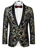 COOFANDY Men's Slim Fit Stylish Casual One-Button Suit Coat Jacket Business Blazers Black 1 Medium