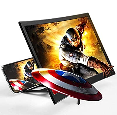 Screen Magnifier for Cell Phone Anti-Blue Light HD 12'' Curved Projector 3D Phone Screen Amplifier with Foldable Holder Stand Screen Enlarger Compatible with iPhone 11 Pro Max XS XR X 8 Samsung Galax by WILEVLA
