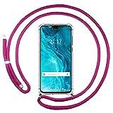 Coque transparente pour Huawei Honor 9X Lite avec cordon rose fuchsia