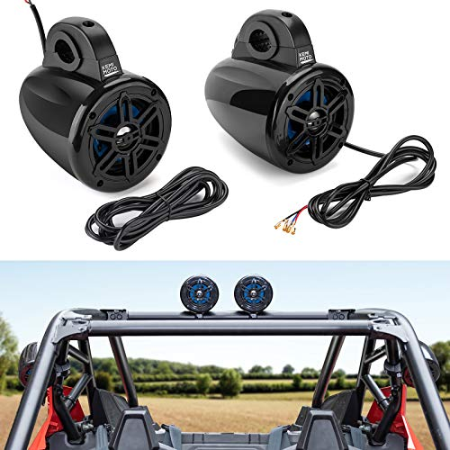"Kemimoto UTV Bluetooth Speakers, 2-Way Roll Bar Mount Speakers Stereo System compatible with Polaris RZR Can Am Maverick Commander Honda Talon Kawasaki Teryx fits 1.65"" - 2"" Roll Cage (One Pair)"