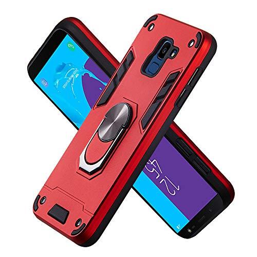 FAWUMAN Armure Coque Samsung Galaxy J6 (2018), Boîtier PC + TPU Double Layer Housse résistant aux Chocs avec Support à Anneau Rotatif à 360 degrés (Rouge)