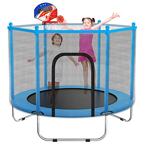 60' Trampoline for Kids - 5 Ft Indoor or Outdoor Mini Toddler Trampoline with Safety Enclosure, Basketball Hoop, Birthday Gifts for Kids, Gifts for Boy and Girl, Baby Toddler Trampoline Toys, Age 1-8