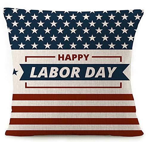 """phjyjyeu Fundas de almohada de lino y algodón con diseño de bandera americana y diseño de rayas divertidas y divertidas con texto en inglés """"Happy Labor Day"""" (45,72 x 45,72 cm)"""