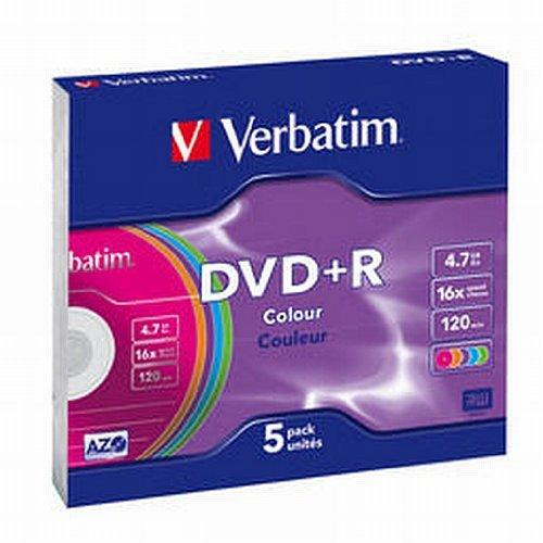 Verbatim DVD+R Advanced AZO 16x Speed Colour Surface 5er Pack Slim Case DVD-Rohlinge