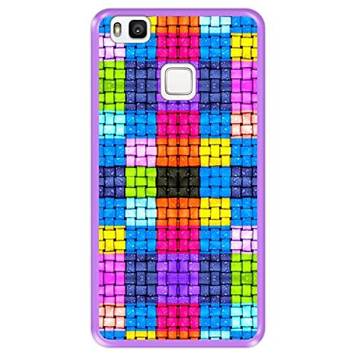 Funda Morada para [ Huawei P9 Lite ] diseño [ Cuadrados de Colores con Gotas de Agua ] Carcasa Silicona Flexible TPU