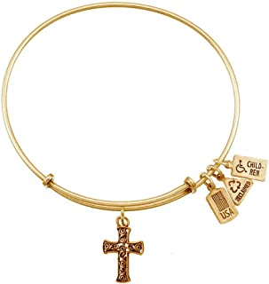 Wind and Fire 3-D Cross Charm Bangle Bracelet (Antique Gold Finish)