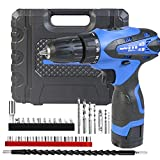 Powerful 1500mHa Lithium Ion Rechargeable Battery Cordless Drill, Power Drill Set 3/8'' Keyless Chuck, Variable Speed, 18+1 Position, LED Light and 29pcs Drill/Driver Bits, Fast Charger, Carry case
