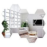 NL Sky Removable Large Size Acrylic Hexagon Mirror Wall Sticker,Self-Adhesive Tiles, 3D Hexagonal, Non-Glass, for Home Bedroom Living Room Decor (6.88 x 6.02 x 3.54 inches)…