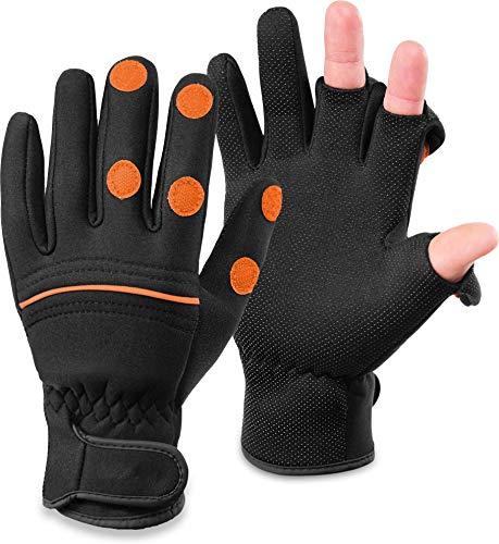 normani Wasser- und Winddichte Angel Handschuhe Winterhandschuhe Fishingsports Anglerhandschuhe 2,5 mm Titanium-Neopren Farbe Schwarz/Orange Größe XL
