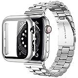 Miimall Compatible con Apple Watch de 44 mm, pulsera de metal con carcasa de policarbonato, correa de repuesto de acero inoxidable para Apple Watch de 44 mm, color plateado
