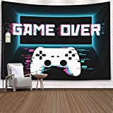 Gaming Wall Tapestry,Crannel Conceptual Abstraction Modern Controller Realistic Game wireless Mockup Tapestry 80x60 Inches Wall Art Tapestries Hanging Dorm Room Living Home Decorative,Black Blue