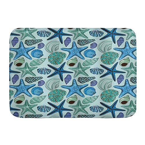 Alfombra de baño Alfombra antideslizante, Estrella de mar Composición inspirada en acuarios...