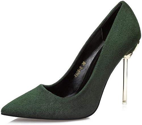 Chengleilei La Mode des Femmes à Talons Hauts a souligné Les Chaussures de Mariage de Talons à Talons Professionnels (Couleur   vert, Taille   39)