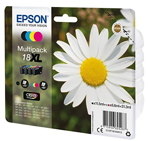 Epson 18XL - Pack de 4 cartuchos de tinta, tricolor y negro, XL válido para los modelos XP-425, XP-422, XP-415, XP-412, XP-325, XP-322, XP-215 y otros, Ya disponible en Amazon Dash Replenishment