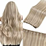 LaaVoo One Piece Human Hair Weft 20 Pulgadas Weft Micro Easy Extensiones de Cabello Natural Ash Blonde Highlighted Bleach Blonde Micro Beads Hair Weft 50g Weft Extensions con Secret