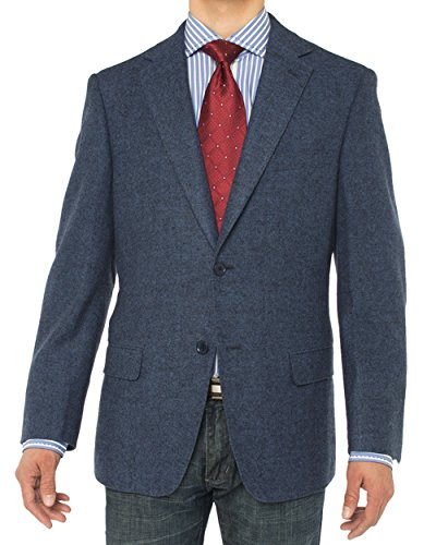 Luciano Natazzi Men's 2 Button Luxe Camel Hair Suit Jacket Sport Coat Blazer (40 Regular US / 50R EU, French Blue Herringbone)