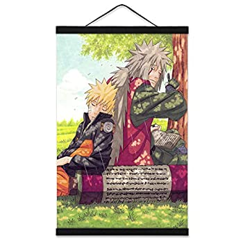 Naruto Posters Wall Scroll for Boys Room with 16in Wooden Magnet Hanger