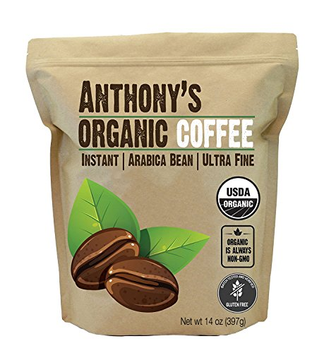 Anthony's Organic Instant Coffee,14oz, Ultra Fine Microground, Gluten Free, Arabica, Non GMO