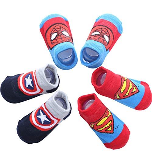 Sweetneed Calcetines Antideslizantes para Bebé Niños Niñas Infantil Recién Nacido (Superman, S)