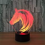 Lámpara 3D ilusión LED de luz nocturna Shaggy horse para hombres, mujeres, niños, niñas, regalo Con interfaz USB, cambio de color colorido