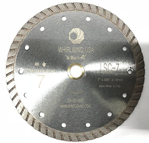WHIRLWIND USA LSC 7 inch Dry or Wet Cutting General Purpose Continuous Turbo Power Saw Diamond Blades for Concrete Masonry Brick Stone ( 7inch,)